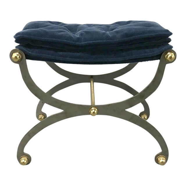 Vintage Steel, Brass and Mohair Campaign Cerule Stool For Sale