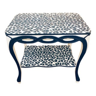 1950s Hollywood Regency Blue and White Leopard Print Two Tier Side Table For Sale