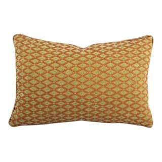 """Rust and Sage Chenille Diamond Pattern Lumbar Pillow Cover - 13"""" X 20"""" For Sale"""