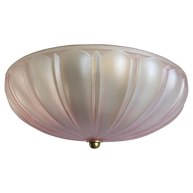 1950s Frosted Glass Flush Light For Sale In Austin - Image 6 of 11