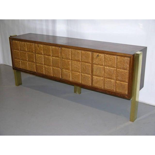 1940s Minimalist Dark & Light Wood Cabinet Sideboard on Brass Legs For Sale - Image 9 of 12