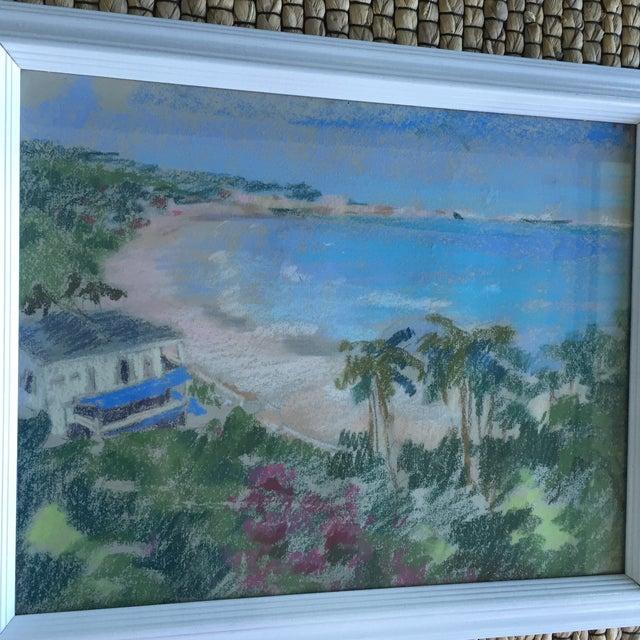 Original Oil Pastel Caribbean Coastline Seascape Framed Art - Image 5 of 10