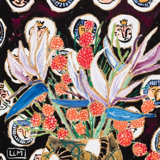 Lara Meintjes Lions and Tigers Dark Floral Still Life Painting For Sale