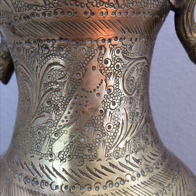 Gold Vintage Brass Vase with Snake and Fish Handles For Sale - Image 8 of 11