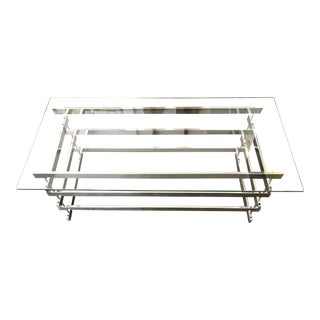 Chrome & Glass Coffee Table Stacked Paul Mayen Style For Sale