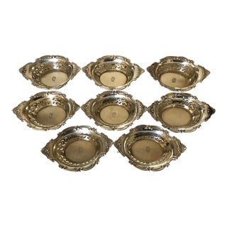 Early 20th Century Gorham Cromwell Sterling Silver Nut Bowls - Set of 8 For Sale