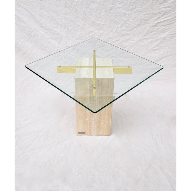 Gold Artedi Travertine Marble Occasional Tables, Pair For Sale - Image 8 of 10