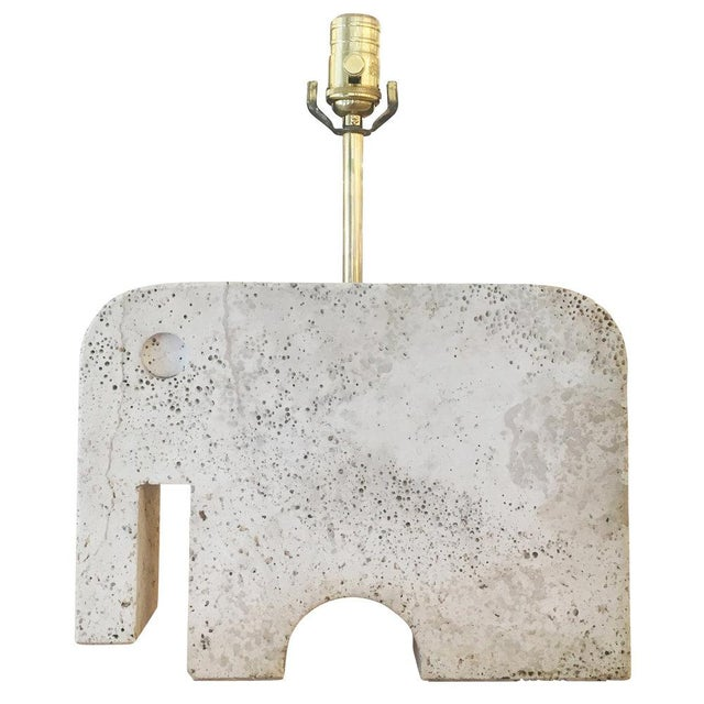 1950s Travertine Elephant Table Lamp For Sale - Image 5 of 5