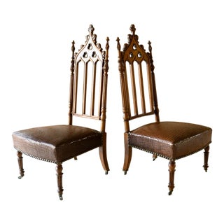 19th Century Carved Oak Cathedral Style Chairs - a Pair For Sale