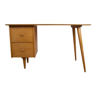 Vintage Mid Century Modern Paul McCobb Planner Group Solid Maple Desk With Aluminum Ring Pulls