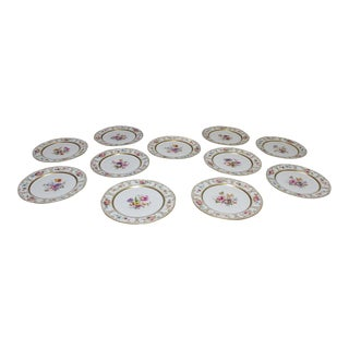 Late 19th Century Handpainted Limoges Dinner Plates - Set of 11 For Sale