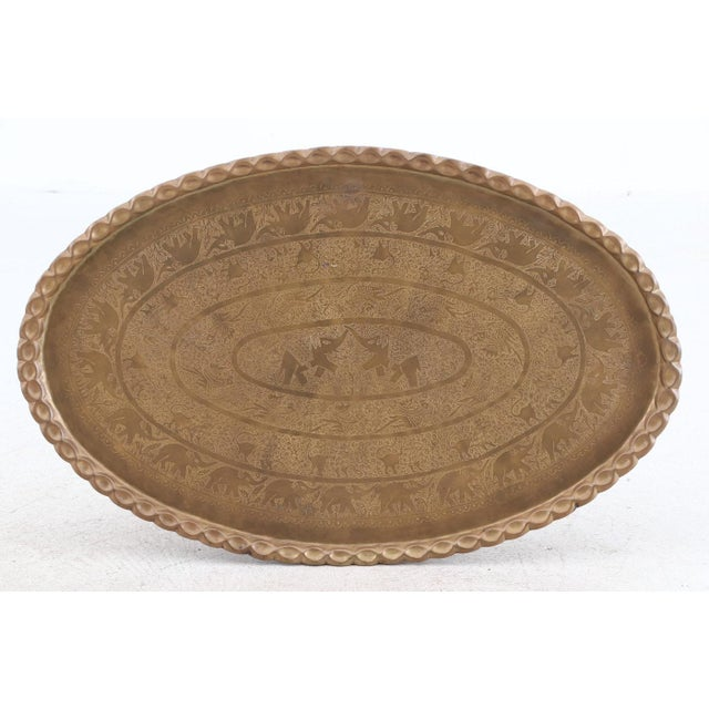 Metal Antique Brass Oval Tray TableTop Large Hand Made 50s 20th Century Elephant Animals Birds Tree of Life Brass Metal Gold Indian Moroccan Wall Plaque For Sale - Image 7 of 7