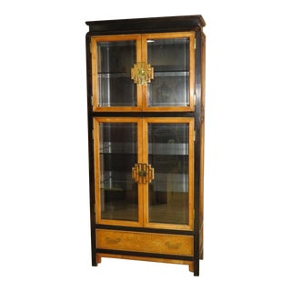 1980s Asian Style Century Furniture Four Door Curio Cabinet For Sale