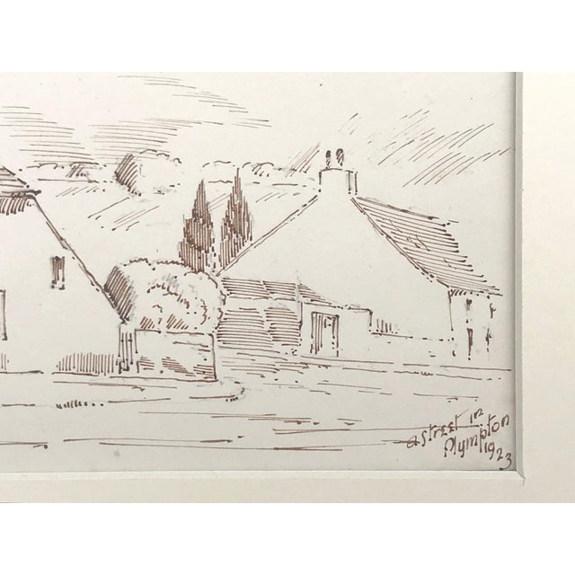 """Antique English Pen & Ink Cottage Drawing """"A Street in Plympton"""" 1923 For Sale - Image 4 of 5"""