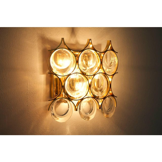 Metal Palwa Single Wall Sconce, Gilded Brass and Crystal Glass 1960s For Sale - Image 7 of 8