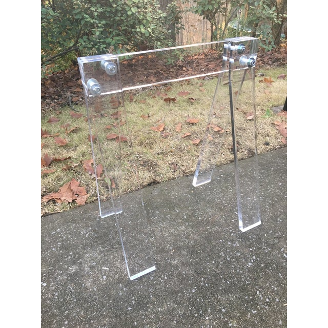 1970s Mid Century Lucite Blanket Rack Saw Horse For Sale - Image 5 of 13