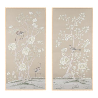 "Chinoiserie ""Donnington"" Diptych Painting on Silk by Simon Paul Scott for Jardins en Fleur - 2 Pieces For Sale"