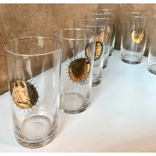 Metal Mid-Century Gold Zodiacal Characters Glassware, Italy 1960s - Set of 8 For Sale - Image 7 of 10