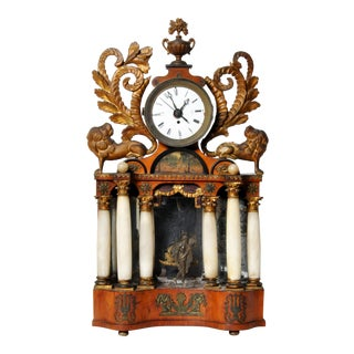 Austrian Alabaster Mantel Clock For Sale