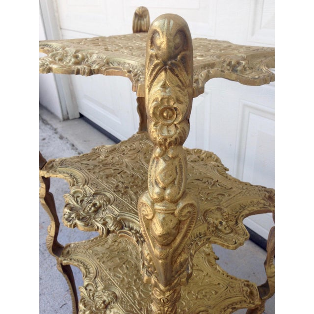 Metal Vintage Hollywood Regency Gold Metal 3 Tier Table For Sale - Image 7 of 7