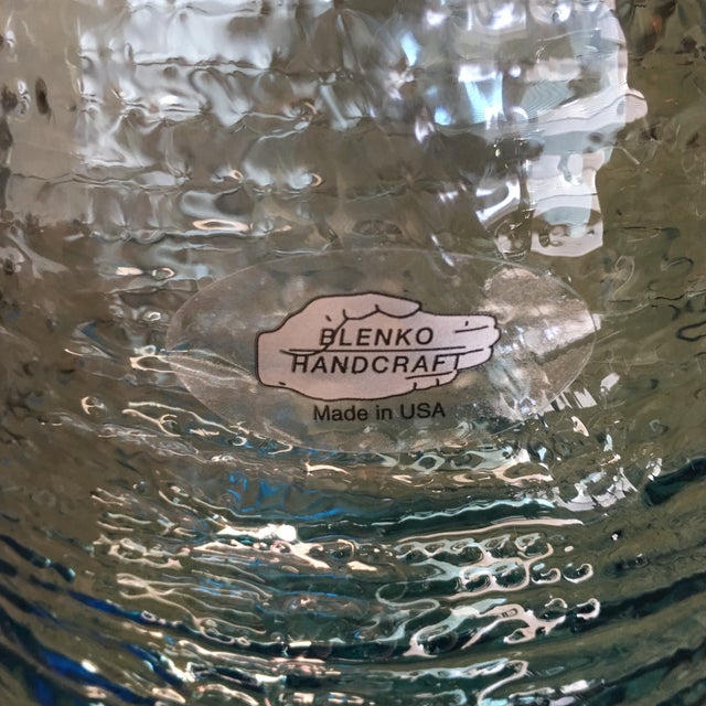 Contemporary Vintage Blenko Blue Ice Glass Vase For Sale - Image 3 of 11