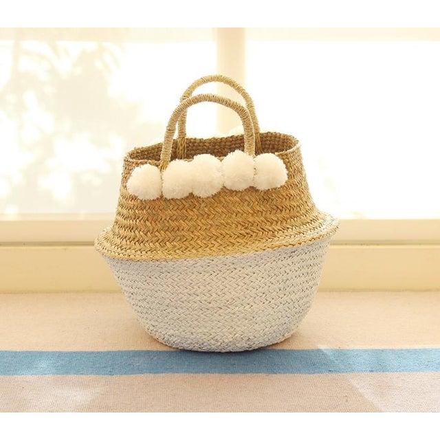 Sea Grass & White Pom Pom Basket - Image 2 of 9