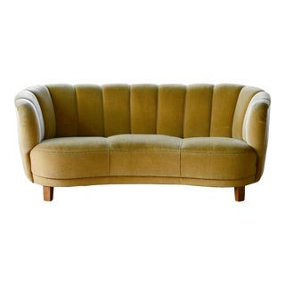 Danish Banana Form Curved Sofa in Original Golden Green Mohair, 1940s For Sale