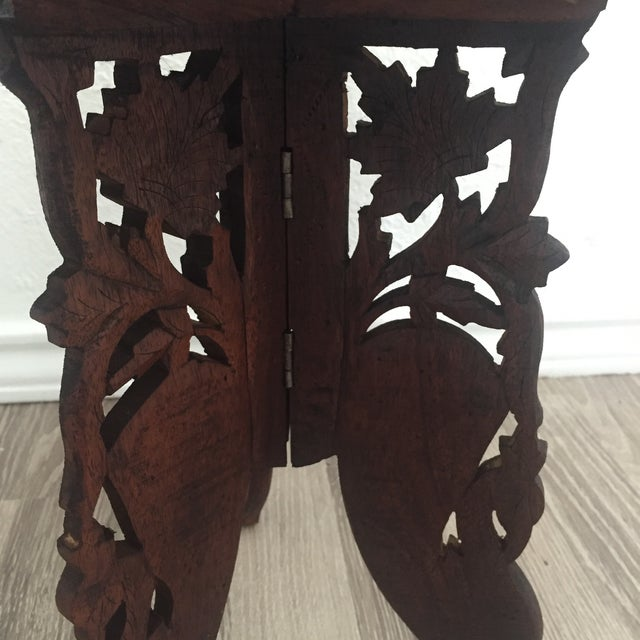Floral Carved Chai Table - Image 4 of 9