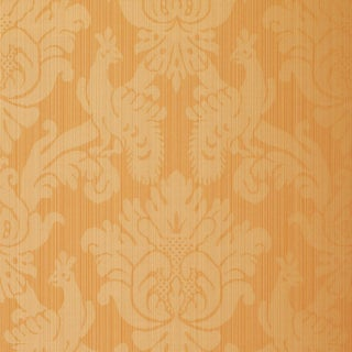 Schumacher Valette Strie Damask Wallpaper in Terracotta For Sale