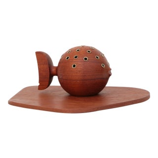 Teak Puffer Fish Toothpick Holder and Cheese Board
