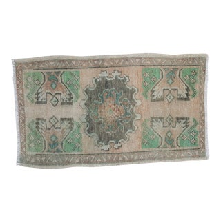 1970s Vintage Miniature Turkish Oushak Pastel Wool Rug - 1′10″ × 2′12″ For Sale
