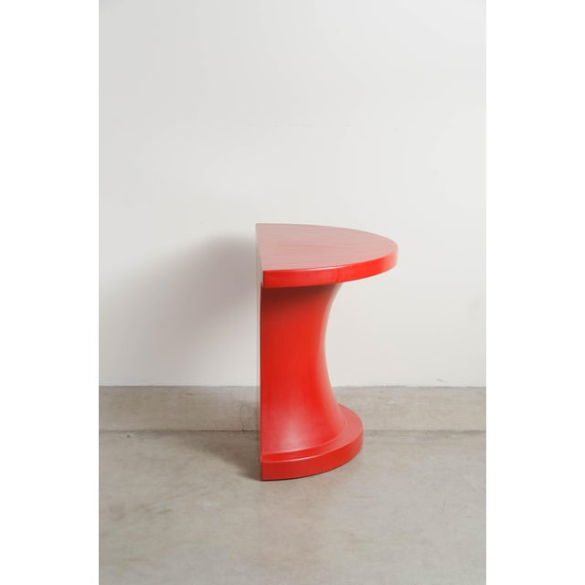 Contemporary Diva Half Round Table - Red Lacquer by Robert Kuo, Limited Edition For Sale - Image 3 of 7