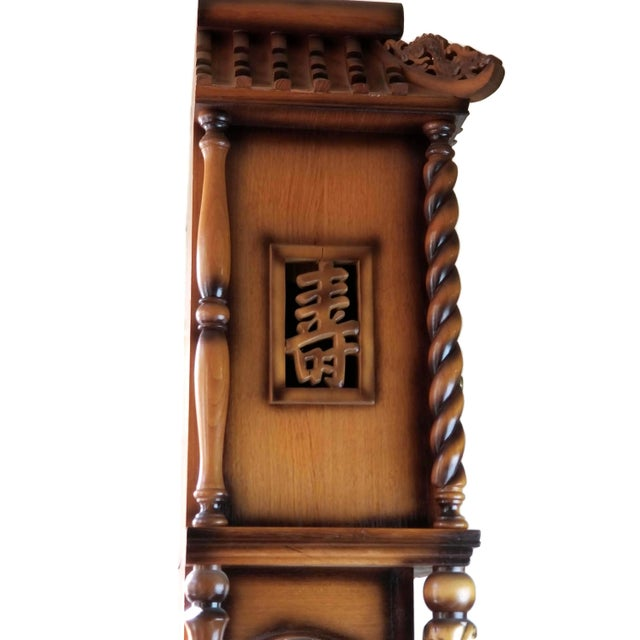 1970s Vintage Chinese Highly Carved Tempus Fugit Grandfather Clock For Sale - Image 9 of 12