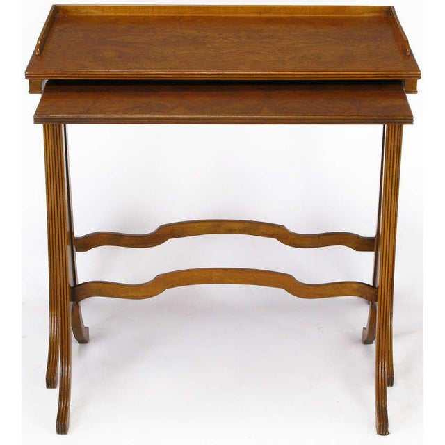 Baker Furniture Company Baker Art Nouveau Style Burled Walnut Nesting Tables For Sale - Image 4 of 10