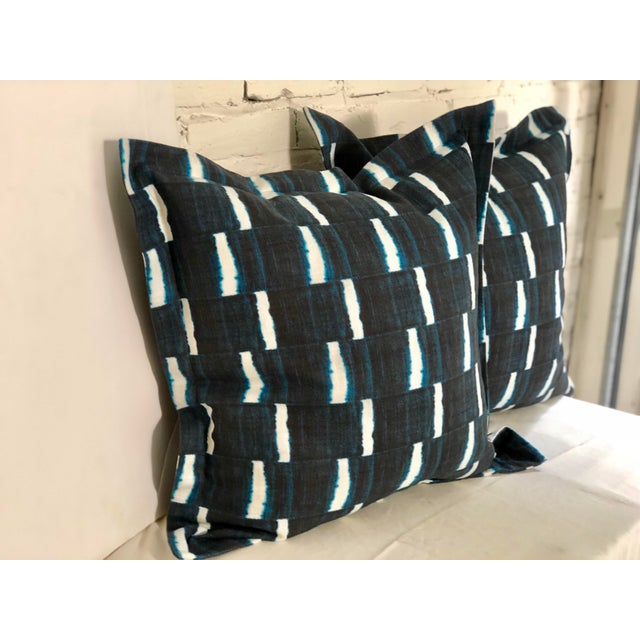 "Tribal Pair of 24"" Indigo Dyed Linen Pillows by Jim Thompson For Sale - Image 3 of 10"