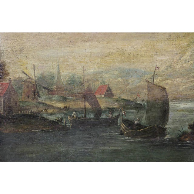 Depicting a boat or barge filled with people in a harbor setting with buildings. Indistinctly signed