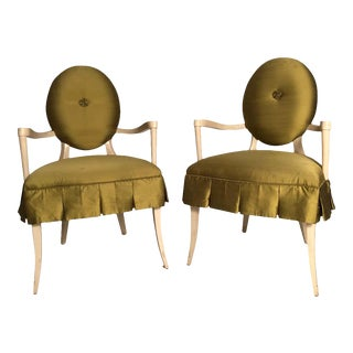 Hollywood Regency Style Upholstered Wood Armchairs - a Pair For Sale