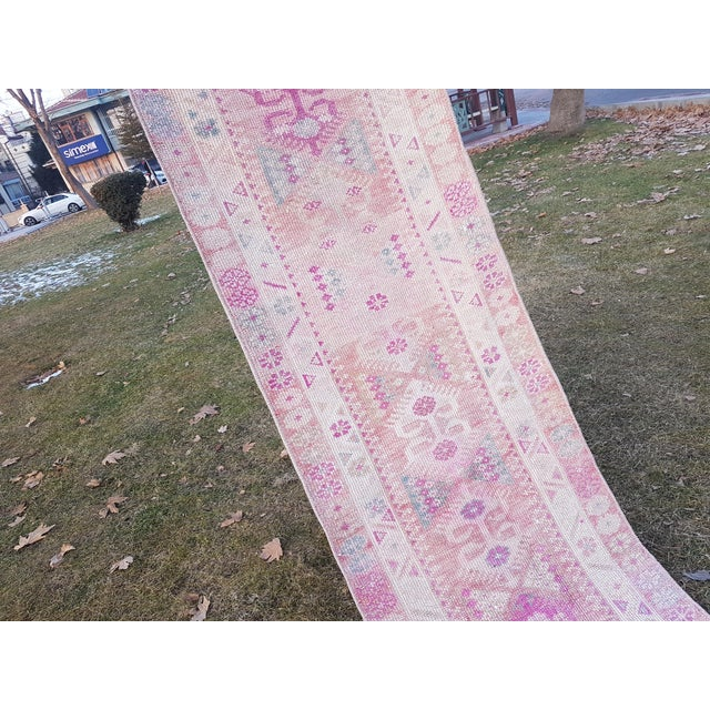 "1970s Distressed Turkish Oushak Runner Rug - Low Pile Herki Rug 2'7"" X 13'4"" For Sale - Image 5 of 13"