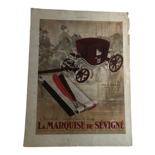 1936 Vintage French La Marquise De Sevigne Chocolate Ad For Sale