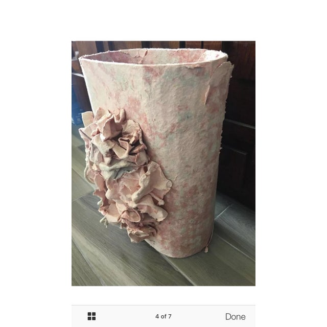 Pink Paper Mâché Waste Basket by F.B. Fogg For Sale - Image 4 of 7