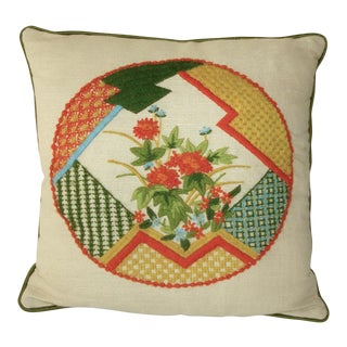 1970s Chinoiserie Pillow Crewel Embroidery Abstract Geometric Floral For Sale