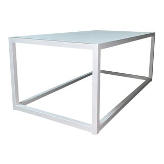 New Modern Rectangular White Table With Metal Top, Indoor or Outdoor For Sale