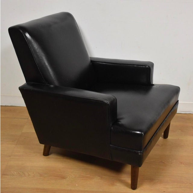 mid century modern black leather lounge chair chairish. Black Bedroom Furniture Sets. Home Design Ideas