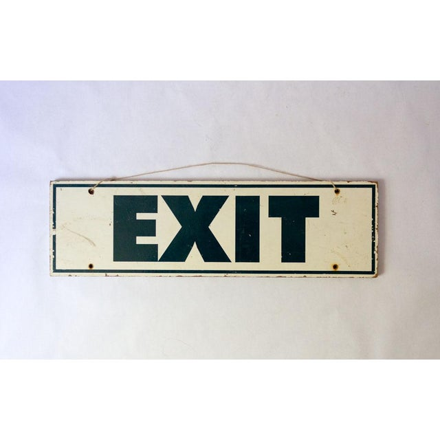 Americana 20th Century Americana Hand Painted Wooden Exit Sign For Sale - Image 3 of 3
