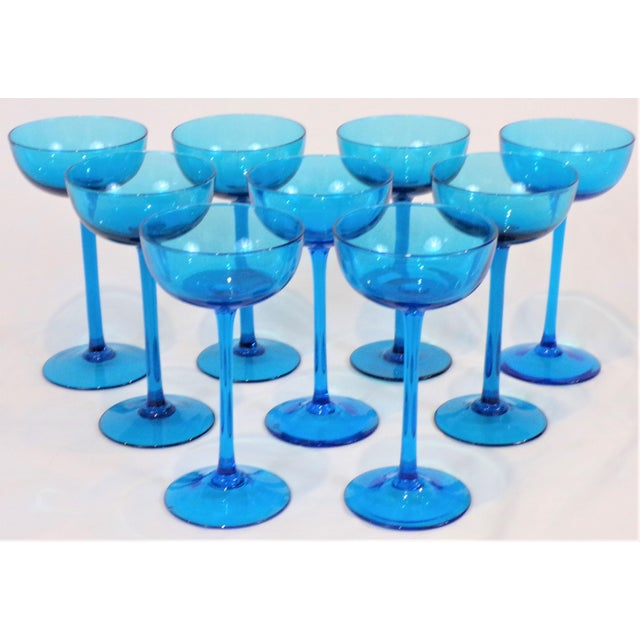 1960's Italian Blue Champagne Coupes - Set of 9 For Sale In Houston - Image 6 of 9