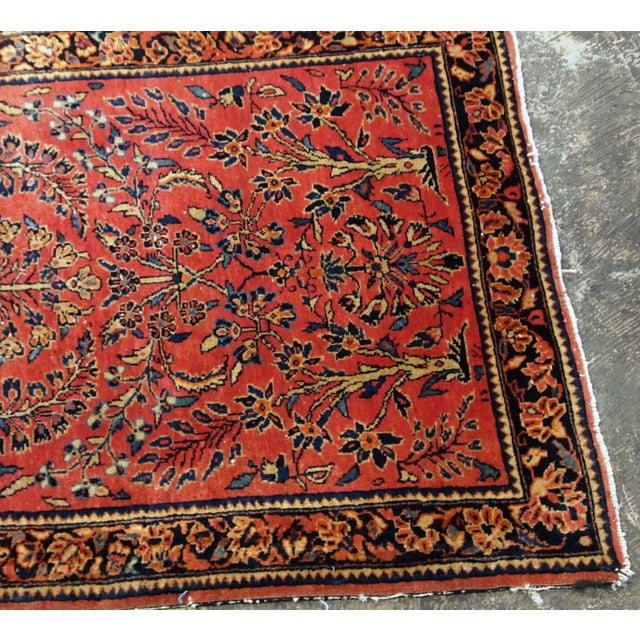 Textile 1900s, Handmade Antique Persian Sarouk Runner 3.2' X 7.10' For Sale - Image 7 of 12