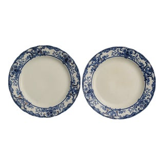 English Flow Blue Plates -A Pair For Sale
