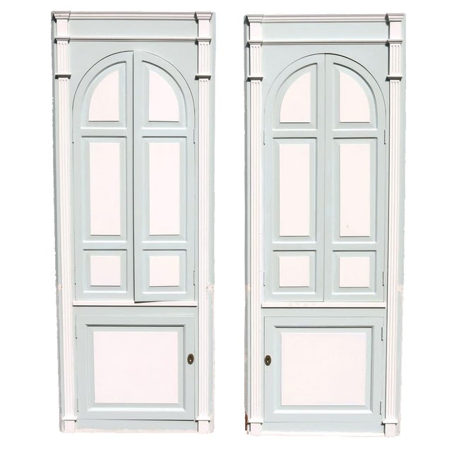 Custom Arch Panel Corner Cabinets - A Pair - Image 1 of 11