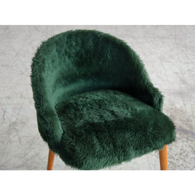1970s Frode Holm Inspired Mid-Century Danish Vanity Chairs in Elm and Green Faux Fur - a Pair For Sale - Image 5 of 10