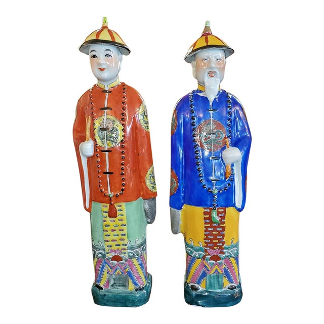 Vintage Chinese Ceramic Noblemen - a Pair For Sale